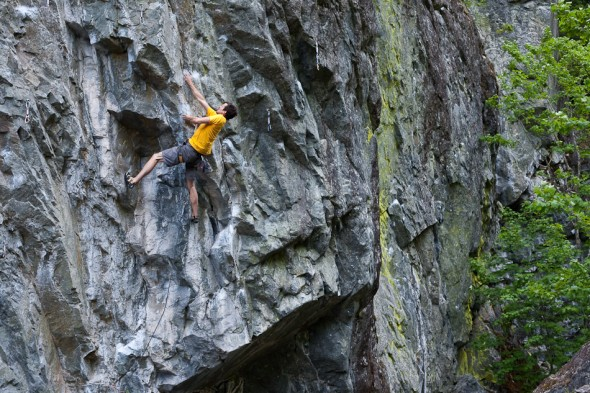 Michael JP Hall chases down the crux sequence on The Fleeing Heifer (12c), The Circus, Cheak Canyon.