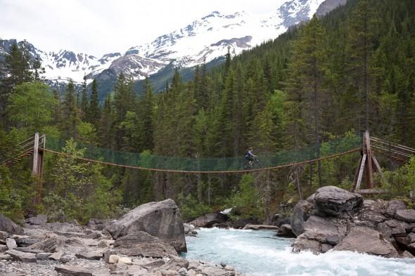 Crossing the swingbridge, upper valley