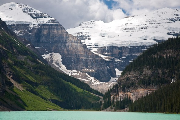 Lake Louise. The crag lies bottom right of the photo