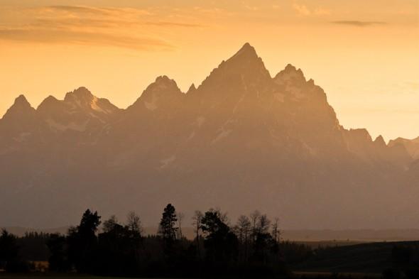 Teton Range from the highway. Exum Ridge of Grand Teton (4197m) is left skyline of the highest peak