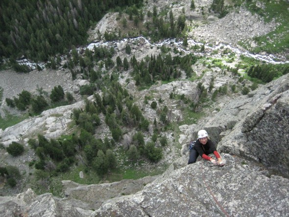 High above Death Canyon on The Snaz, 5.10