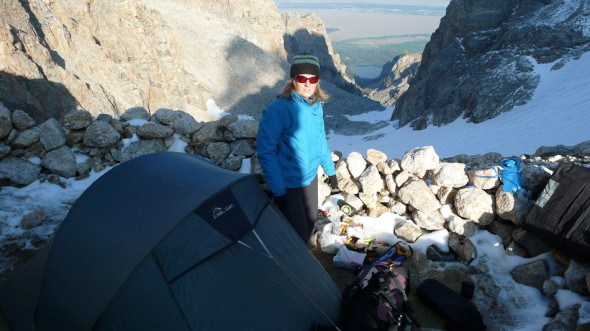 A cold camp at the Lower Saddle, Exum Ridge