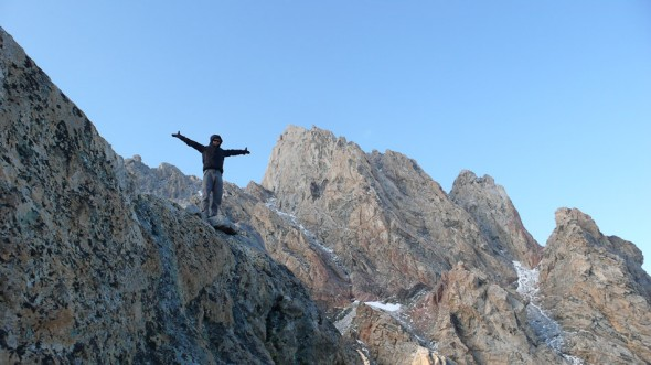 Me on the descent, with Exum and Grand Teton in background [photo by Hana]