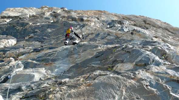 Me leading the ultra classic Black Wall pitch - steep juggy gneiss with super nice climbing (grade 16ish)
