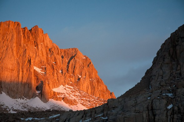 Dawn light on Mt Whitney the following morning.