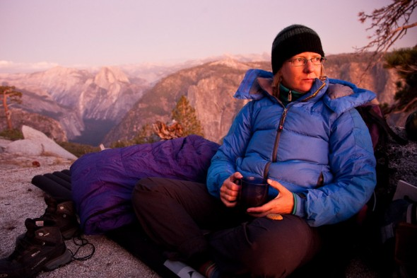 Dusk on the top of El Cap. Half Dome in the background.