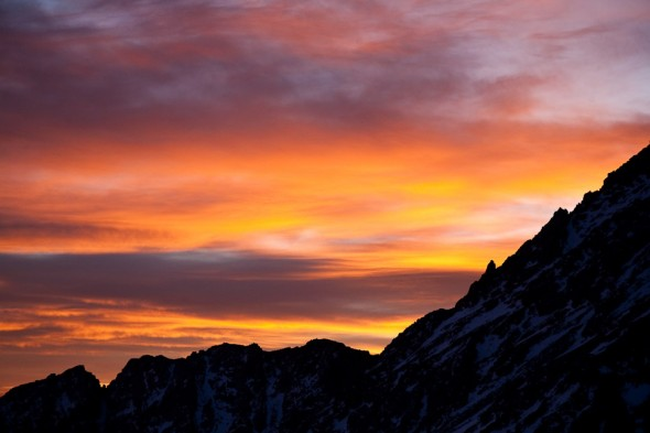 Dusk from our bivvy (at the same height as the top of Mt Cook)
