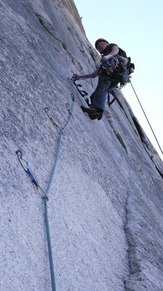 Helen aiding a bolt ladder, day one on the NW Face Half Dome.