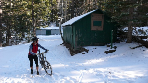 Turnaround time at 'the huts' - still six miles of climbing from here!