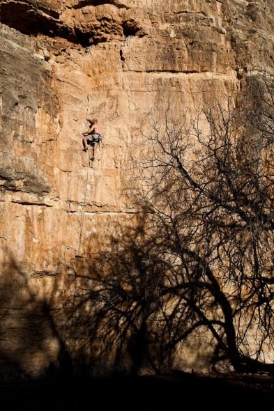 Afternoon sun on the Main Wall at Jacks Canyon, AZ