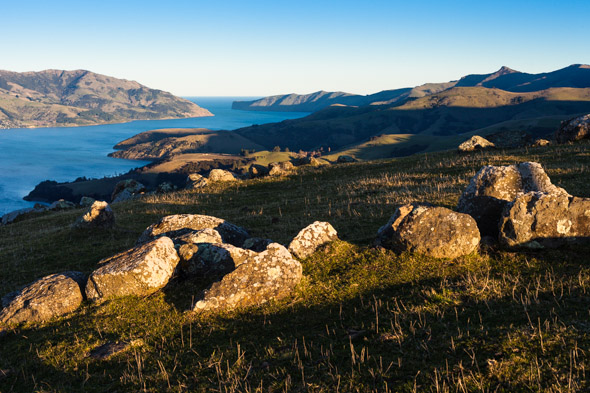 Akaroa Harbour and entrance from Summit Road.