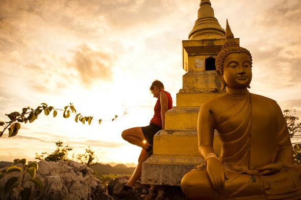 Hilltop stupa, Wat Tham Khao Pun, Thailand.