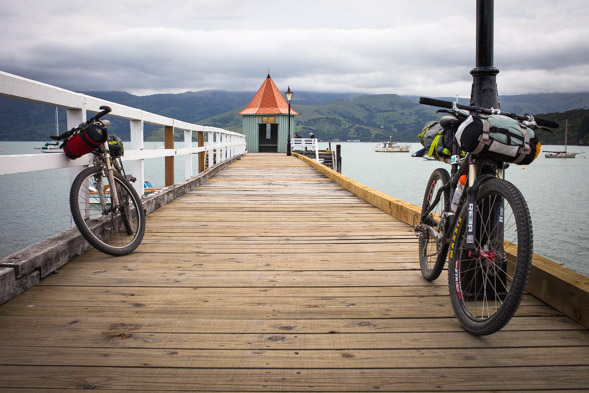 From Wainui we rode around the harbour (via a couple of dirt options on Onawe Rd and Old French Rd) to Akaroa, where we had a backpackers room booked for the night. Akaroa's a quaint spot that was settled by the French in 1840 and always makes a great spot to end a day's riding.