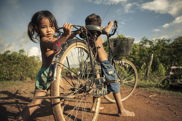 Cambodian Kids with Bike