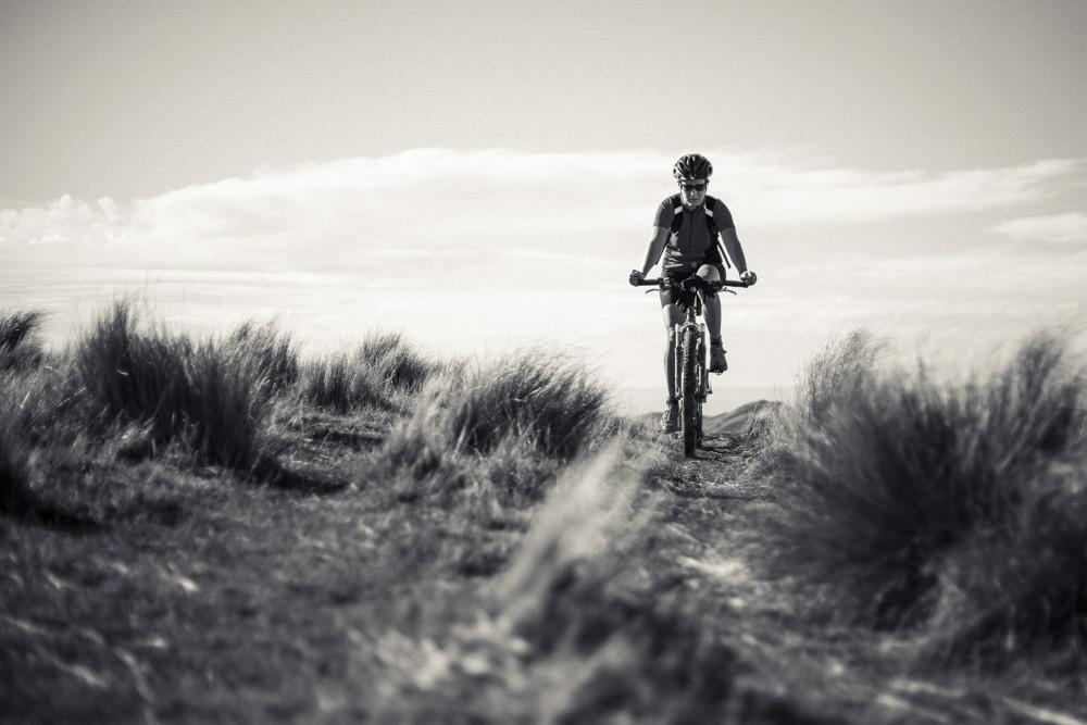 Mountain biker on Mt Herbert, Banks Peninsula