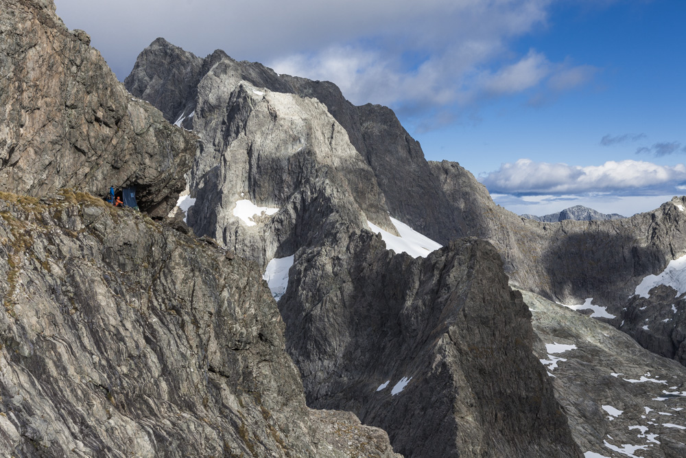 Mountaineers at Turner's Eyrie, Central Darran Mountains. Fiordland