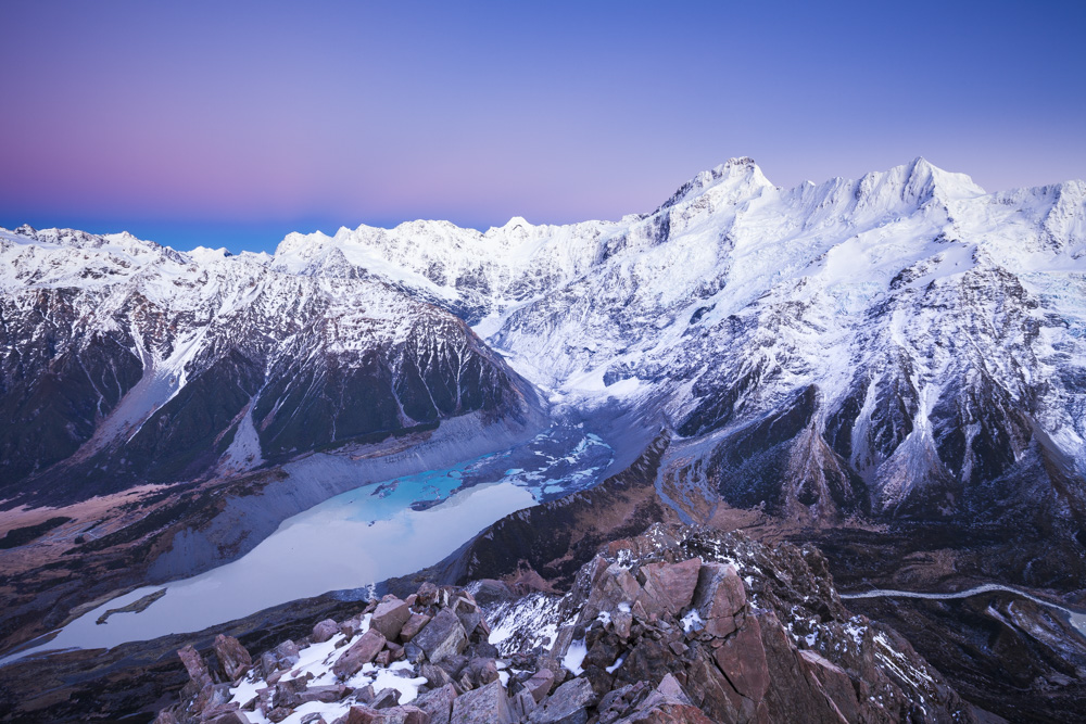 Mueller Glacier terminal lake and Main Divide Peaks. Mount Sefton and the Footstool. Aoraki Mount Cook National Park