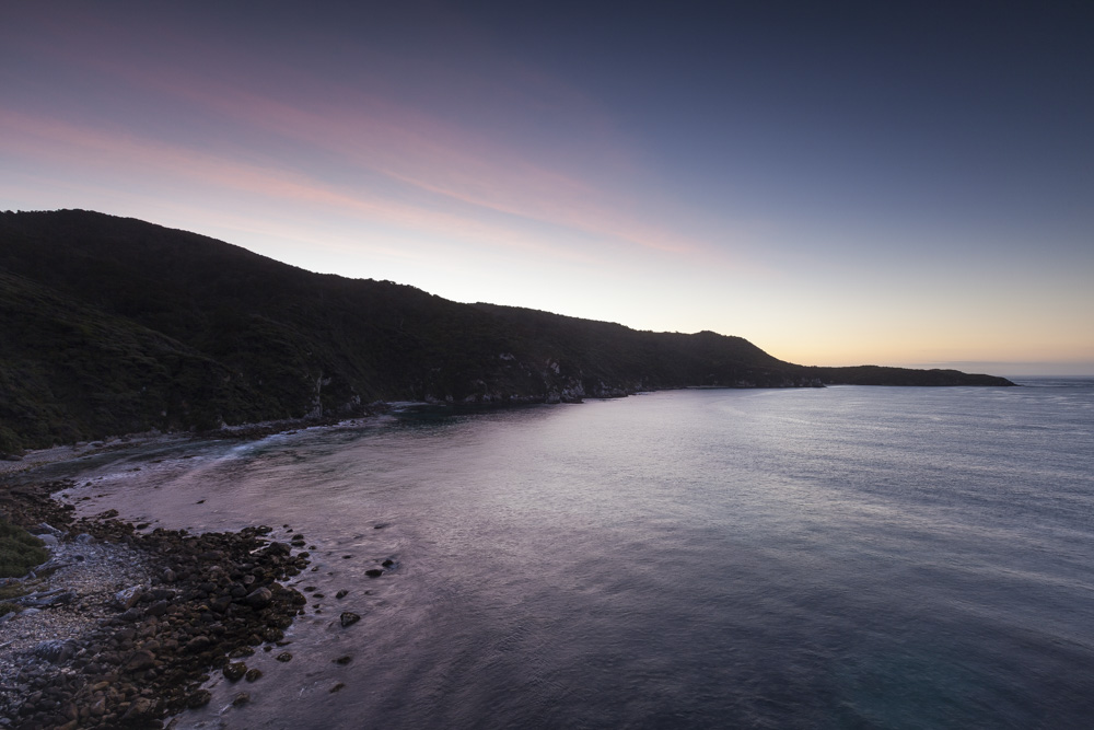 Headland at sunset, Long Harry Bay.