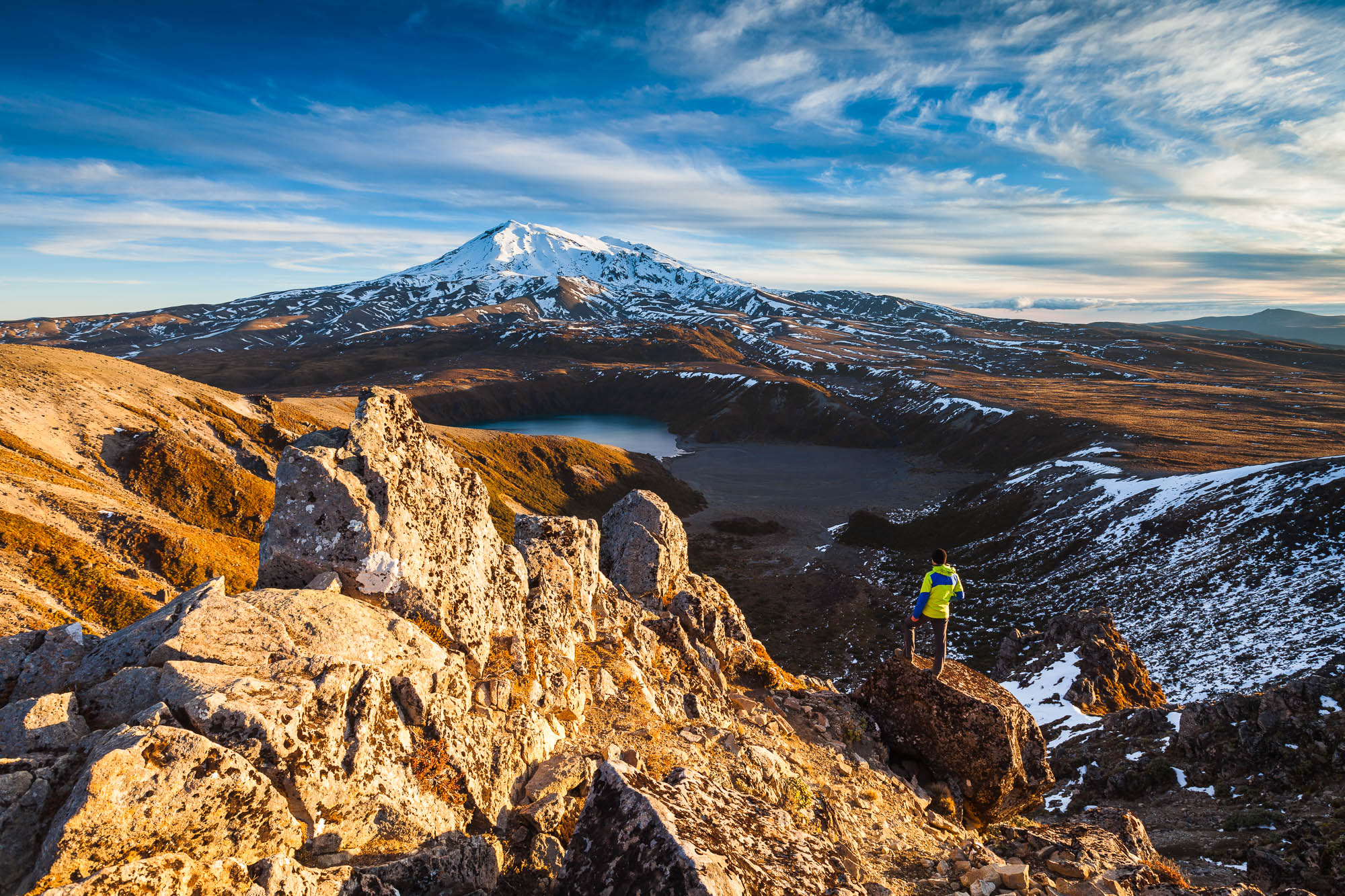 Late afternoon overlooking Mount Ruapehu and the Lower Tama Lake.  Tongariro National Park, UNESCO World Heritage Area. New Zealand. Tongariro was the first National Park in New Zealand and the fourth in the world.   Mark Watson :: Highluxphoto