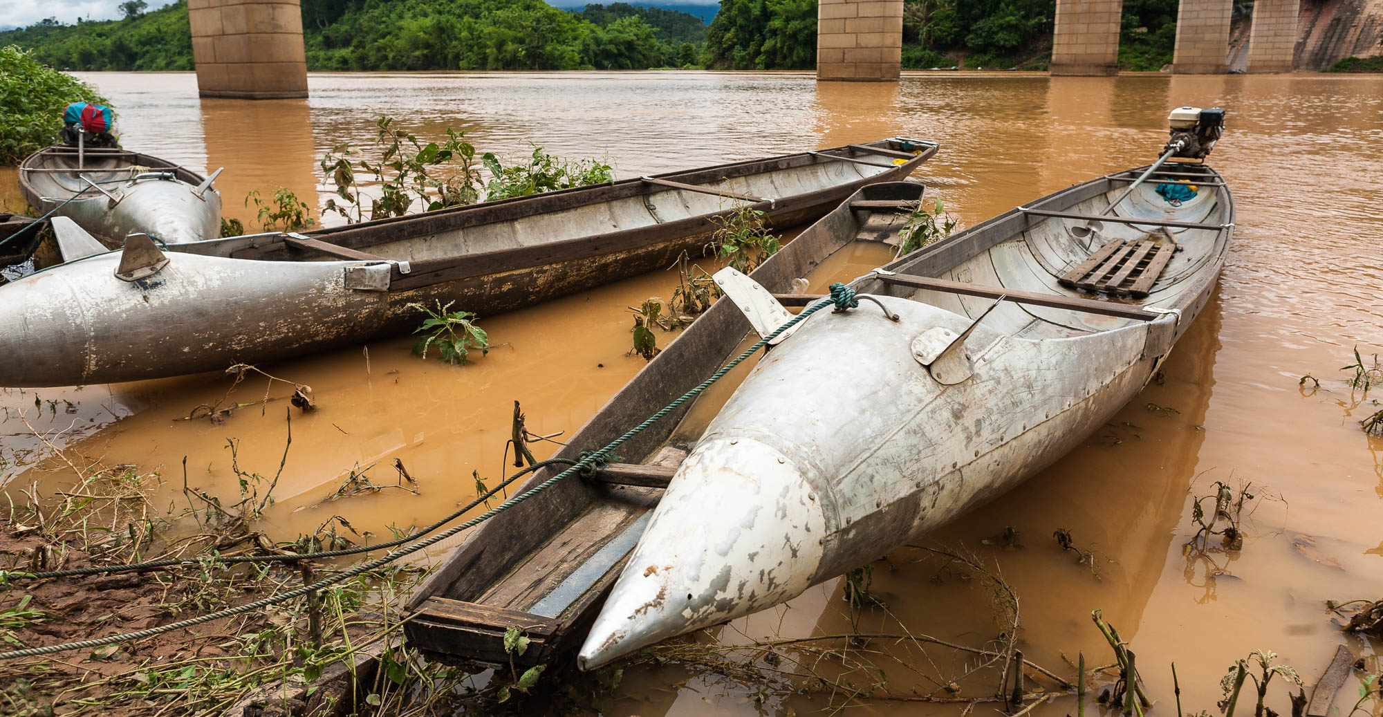 Boats in Nam Theun are recycled from long range fuel tanks jettisoned by US fighter bombers over 30 years ago.