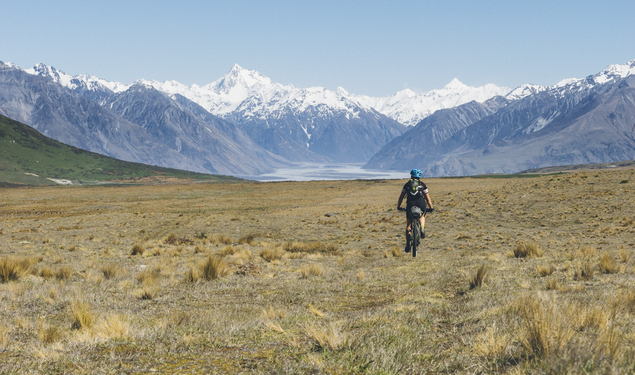 Following the Te Araroa Trail abain towards the Potts and Rangitata Rivers. Mt D'Archiac dominates the voew.