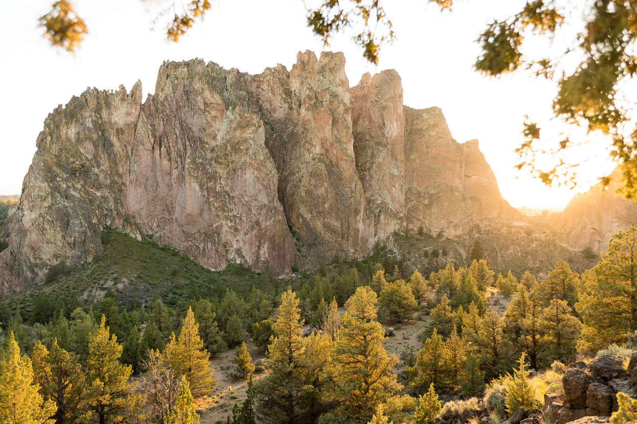 The Smith Rock Pinnacles formation at sunset – just a five minute walk from camp to this location.