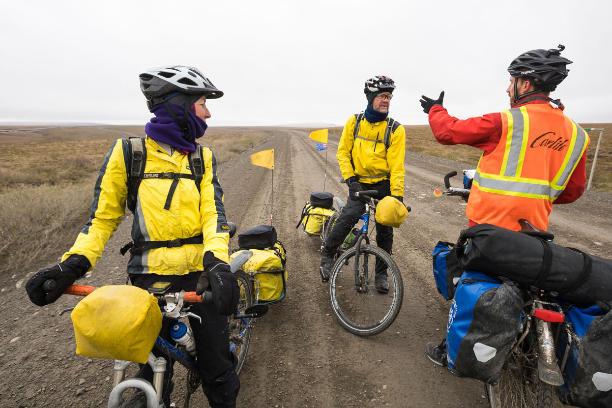 On the morning of day two we leave camp in cold and damp conditions and ride rolling hills, crossing paths with Gaye and Ed (Northbound for this section) who are also on an extended Americas tour. Check them out here.