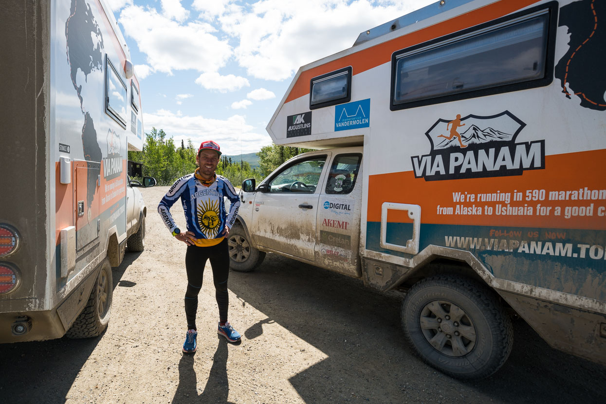 And this amazing guy ran in, with his crew of three . Weking van Reeth is running 590 marathons in a row - from Deadhorse to Ushuaia. 42.2 km a day ... mostly following the Pan American Highway. Check them out here: http://www.viapanam.be/