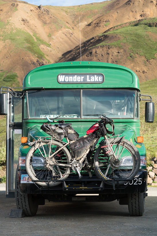 We caught the 6.30am bus back out of the park; from Wonder Lake to the Park HQ, to resume our ride south to Cantwell and the start of the Denali Highway.