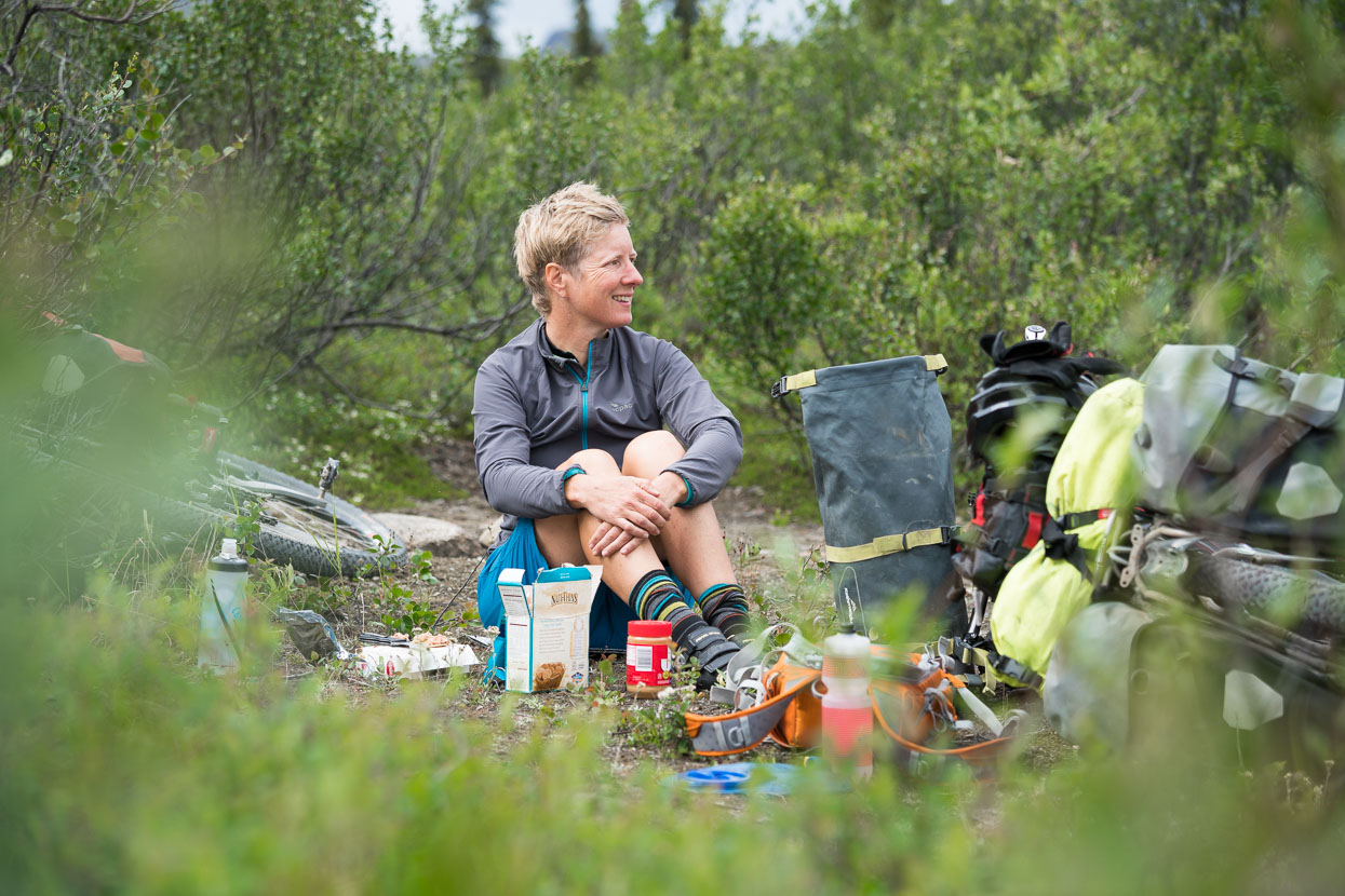 Lunch is usually eaten on the roadside: sometimes at a picnic area, sometimes on the most attractive patch of dirt we can find.
