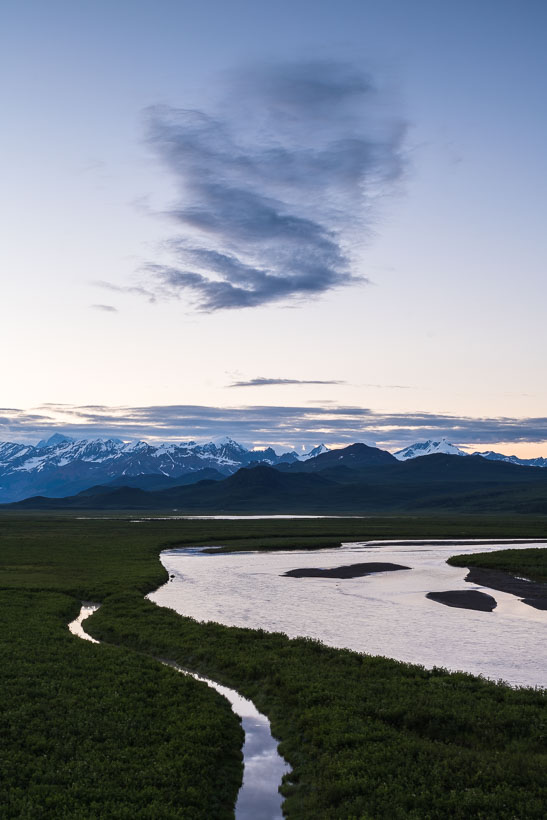 Midnight cloud above the Maclaren River and Alaska Range.