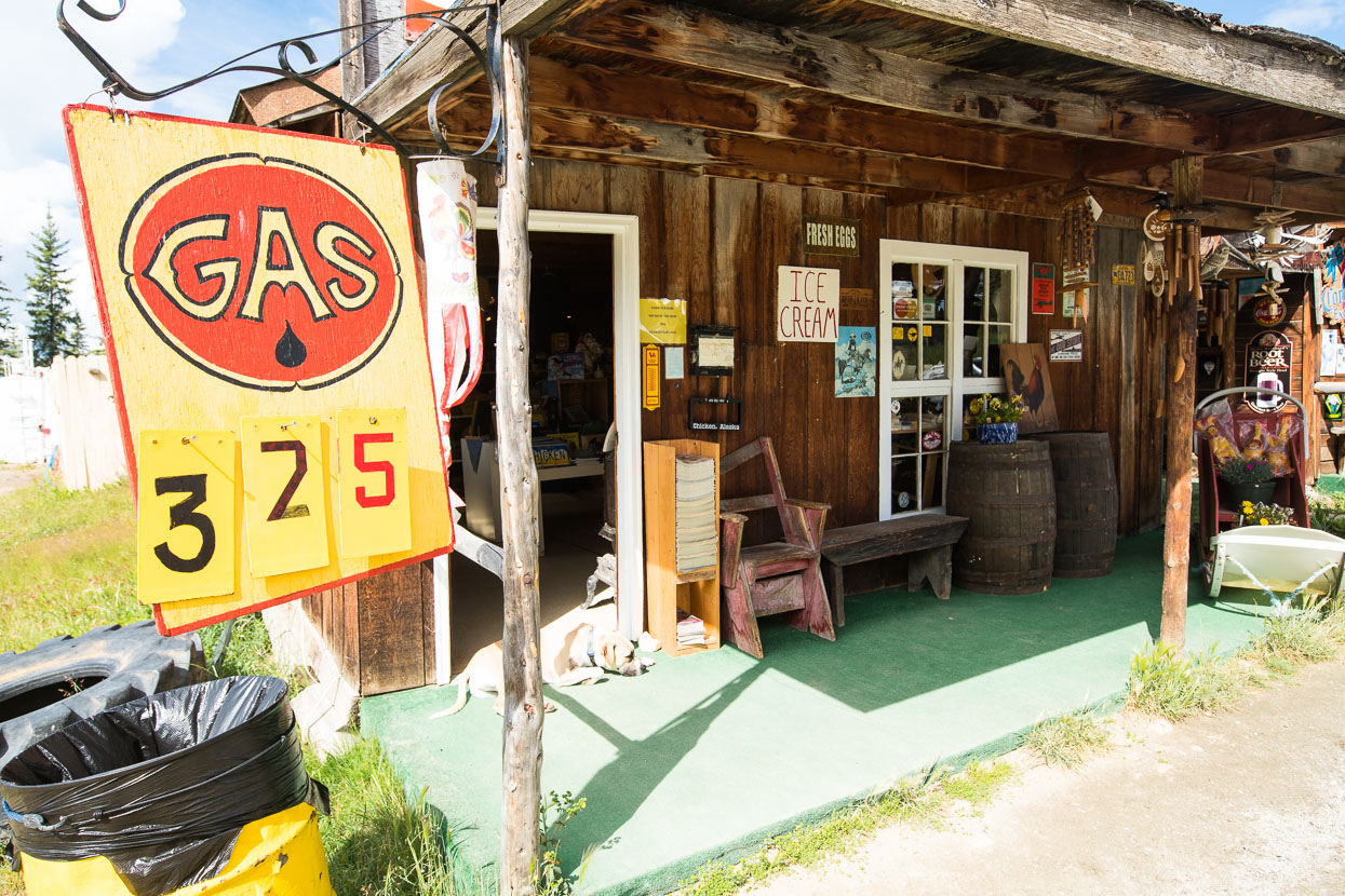 A string of rustic stores cater to every need: gas, souvenirs, basic groceries, booze, ice cream, chicken pie and burgers. The town has a few permanent residents but the highway in and out is closed during the long winter.
