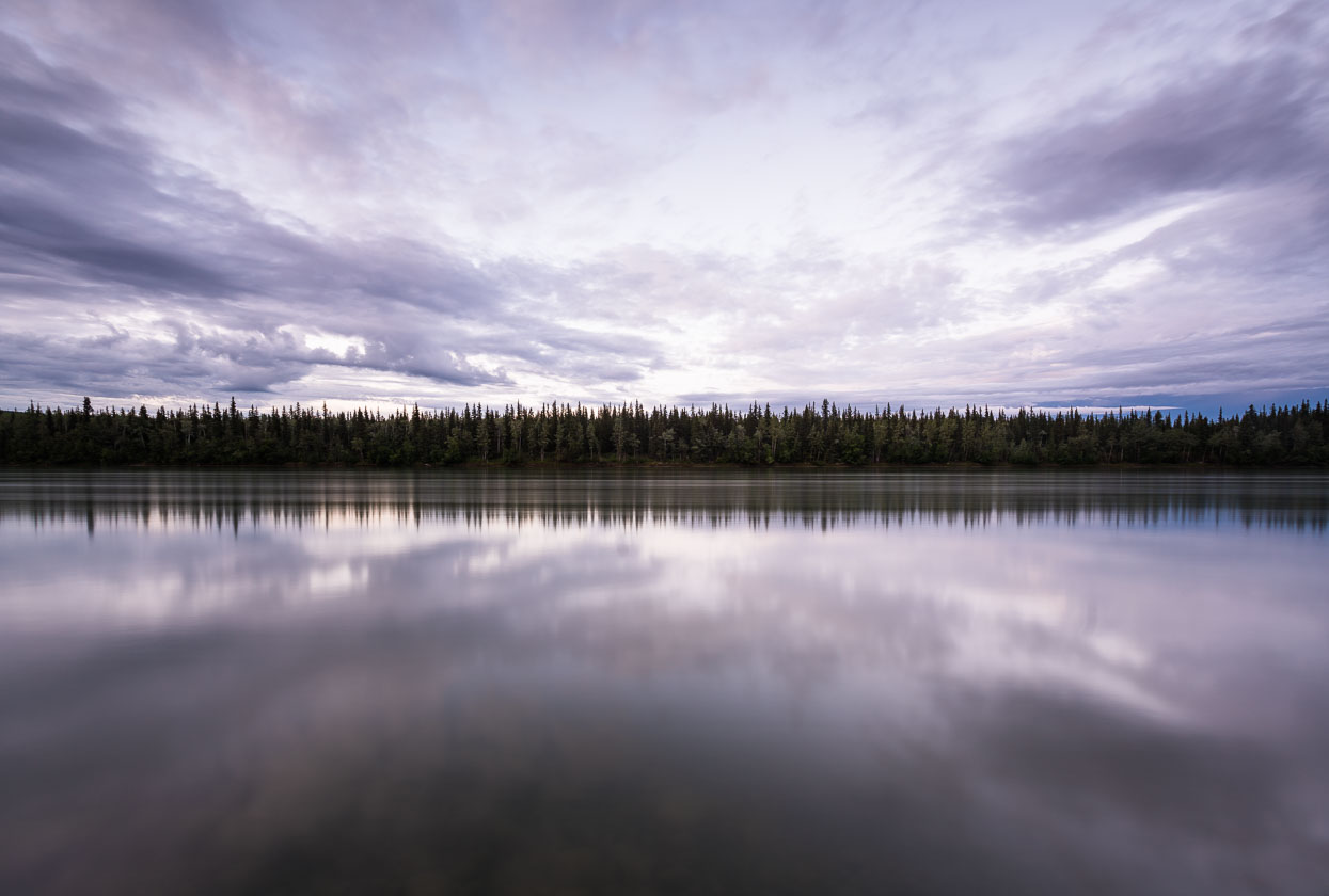 Yukon River at Carmacks, 11pm in the evening (20 second exposure).